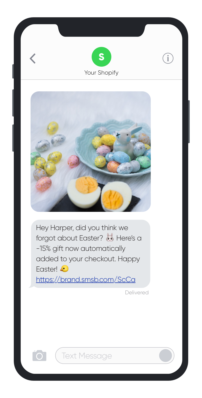 SMSBump SMS Abandoned Cart Easter 2019 Automation Example