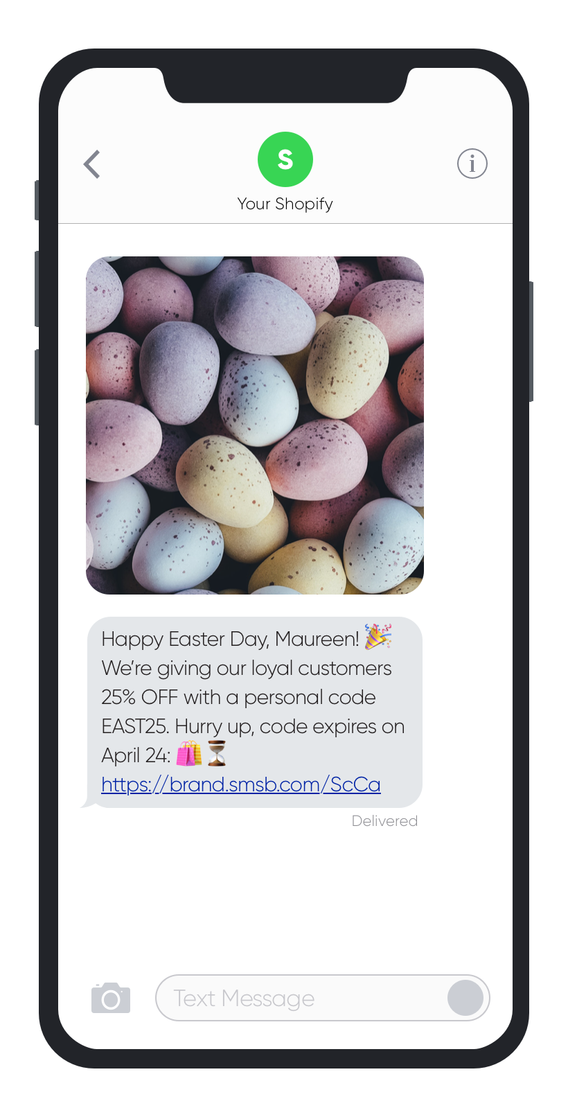 SMSBump SMS Marketing Easter 2019 Campaign Example