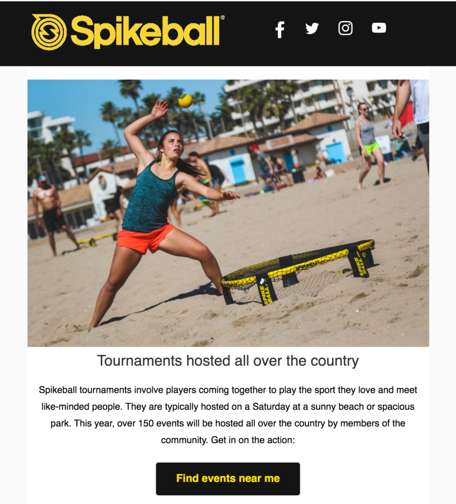Spikeball ecommerce newsletter