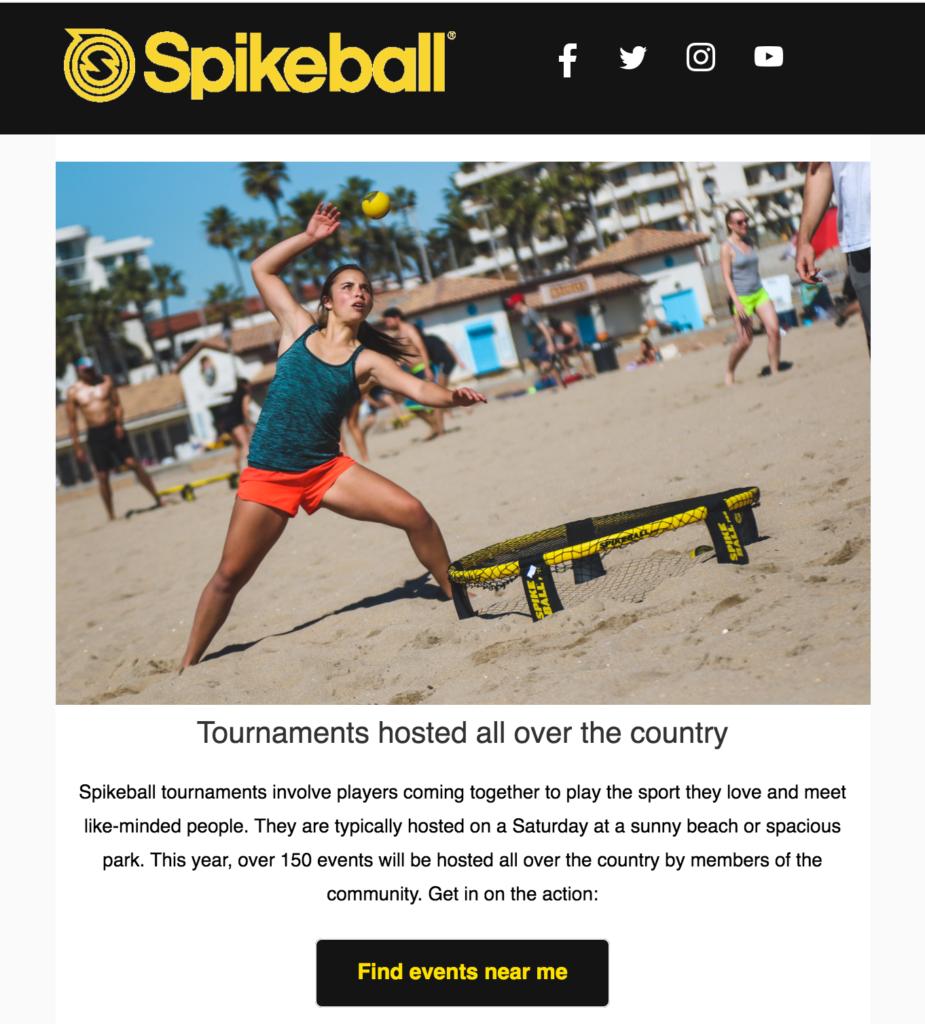 Spikeball ecommerce newsletter