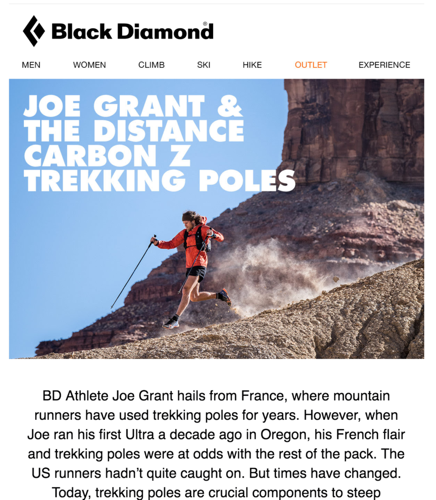 Black Diamond ecommerce newsletter