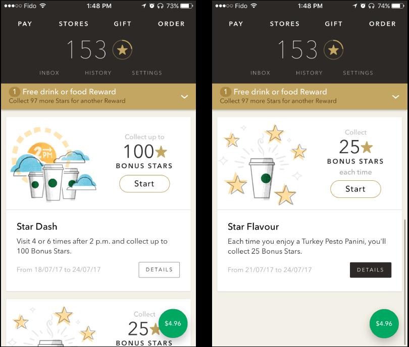 Starbucks mobile rewards app