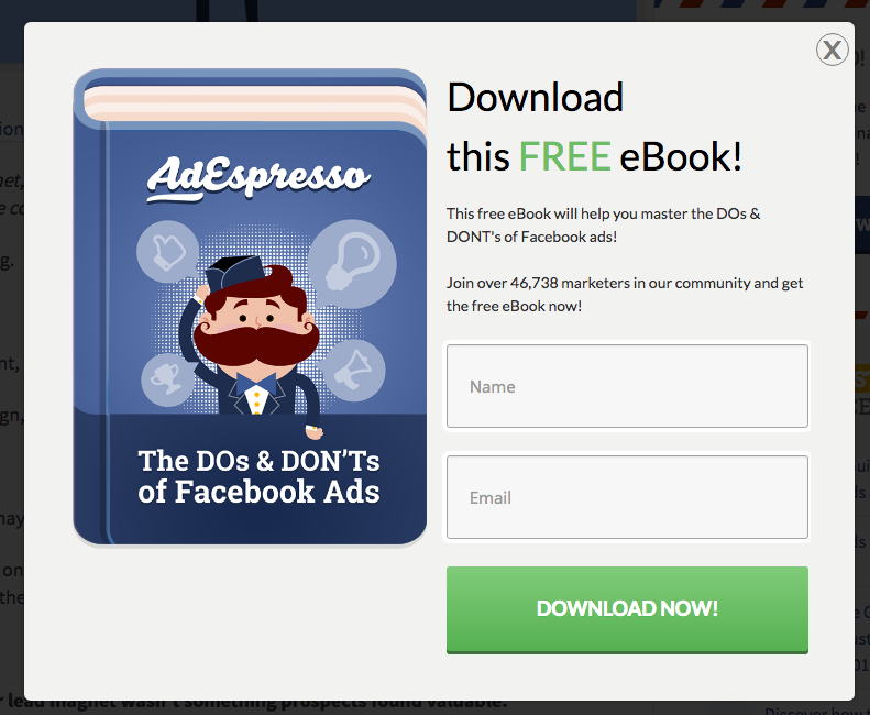 AdEspresso popup offering an ebook in exchange for an email