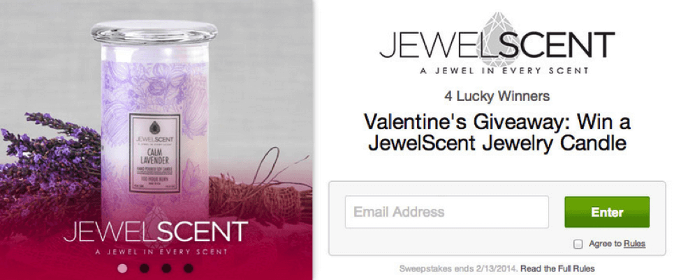 Here's an example of JewelScent's giveaway opt-in form