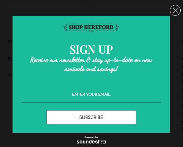 Shop Hereford uses a newsletter as an incentive in his popup forms