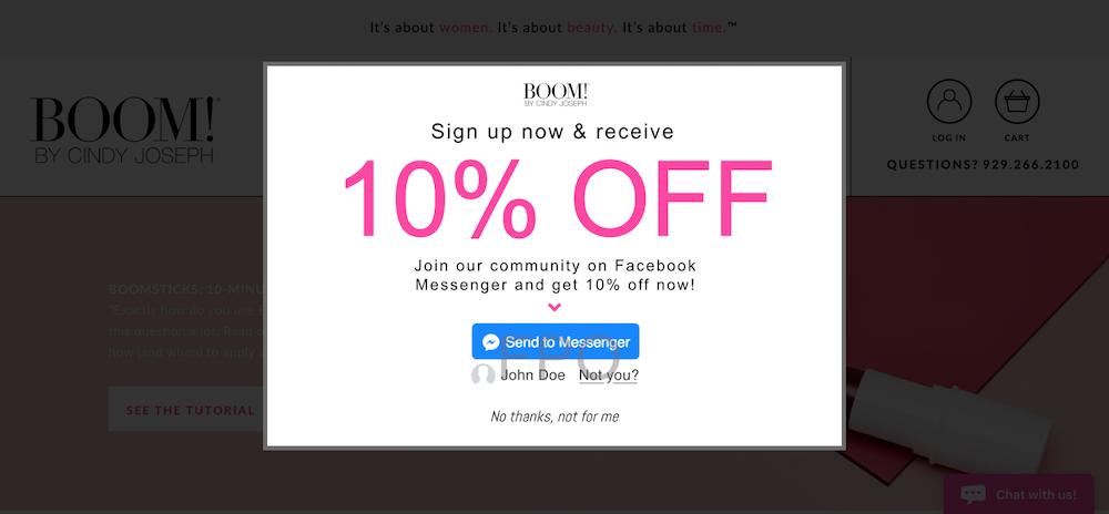 Facebook Messenger marketing discount pop-up