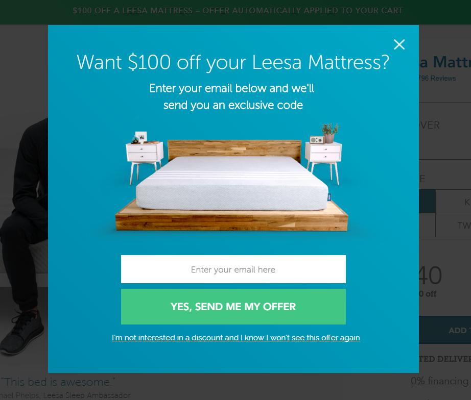 3. Want $100 off your Leesa Mattress?
