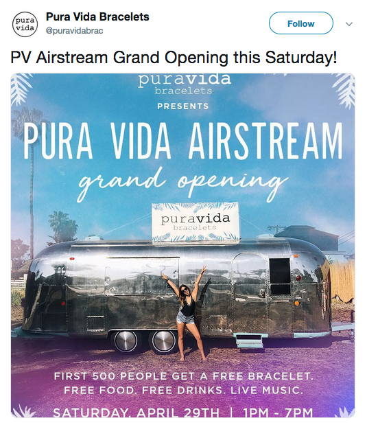 Pura Vida tweet about the Grand Opening of Airstream