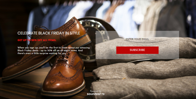 Create your Black Friday landing pages with Soundest