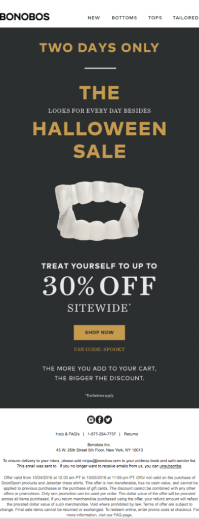 Bonobos halloween sale 30% with scary teeths visual