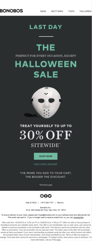 Bonobos halloween sale 30% off with scary mask visual