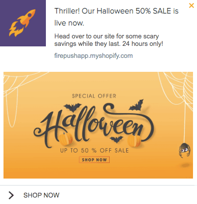 Firepush special 50% discount for halloween holiday