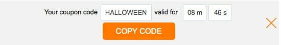 Coupon code halloween with ticking timer and orange box to copy code
