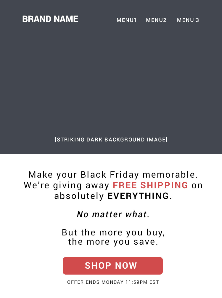 Clean, no fuss Black Friday email template
