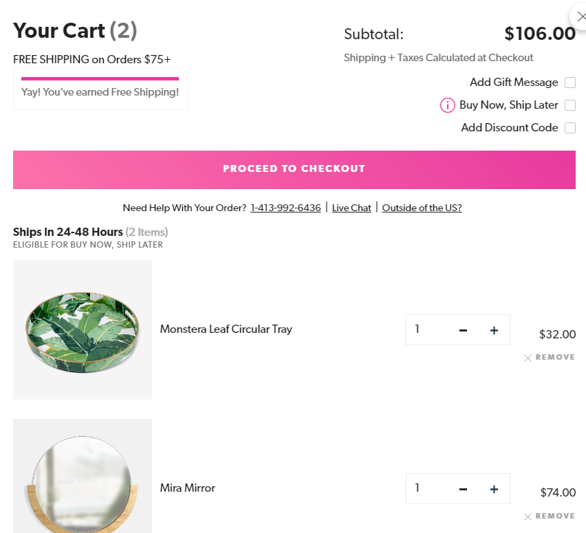 Dormify shipping date estimate in-cart example
