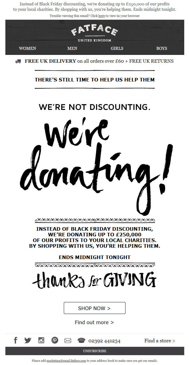 FatFace's donation-focused Black Friday email campaign