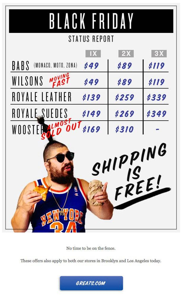 Black Friday email example from Greats.com