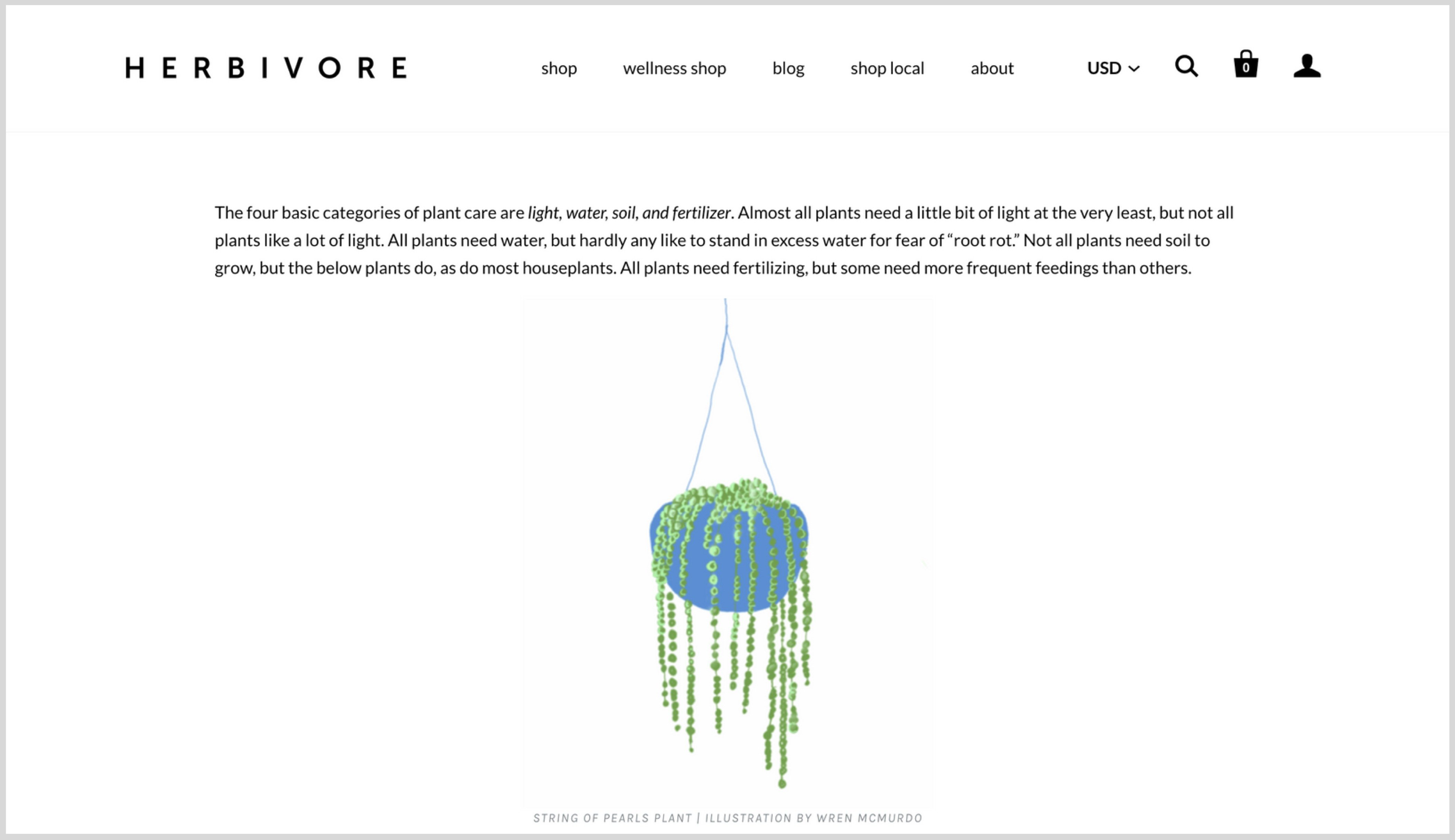Screenshot showing Herbivore Botanicals blog post establishing themselves as experts