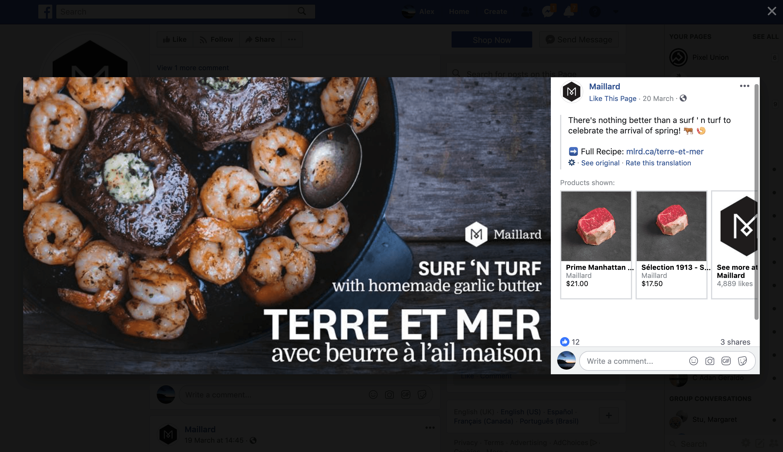 Screenshot showing Maillard dot co Facebook post about one of their recipe blog posts