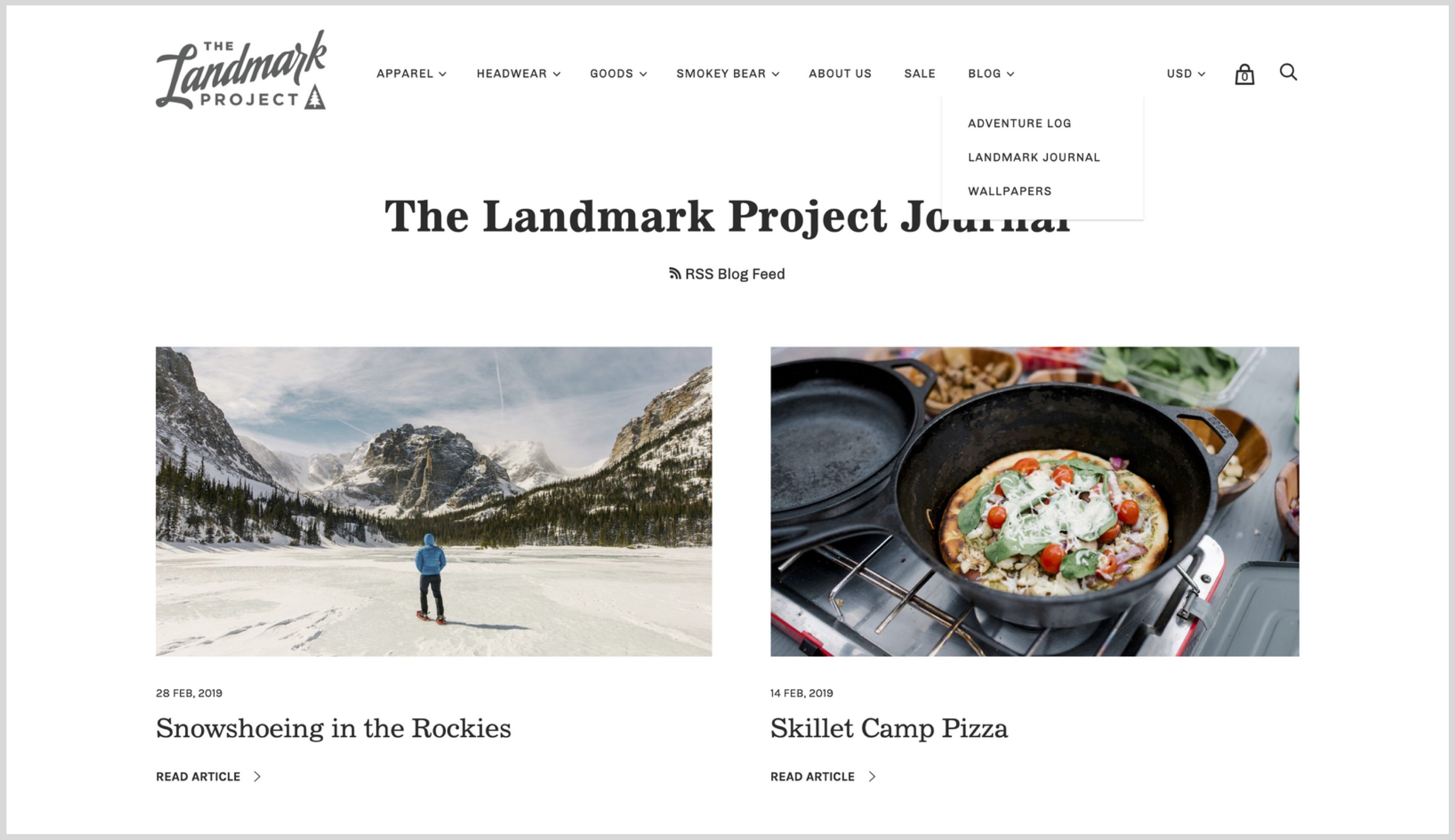 Screenshot of The Landmark Project's blog index page