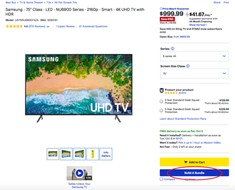 """Best Buy build a bundle feature on product page"""" style="""