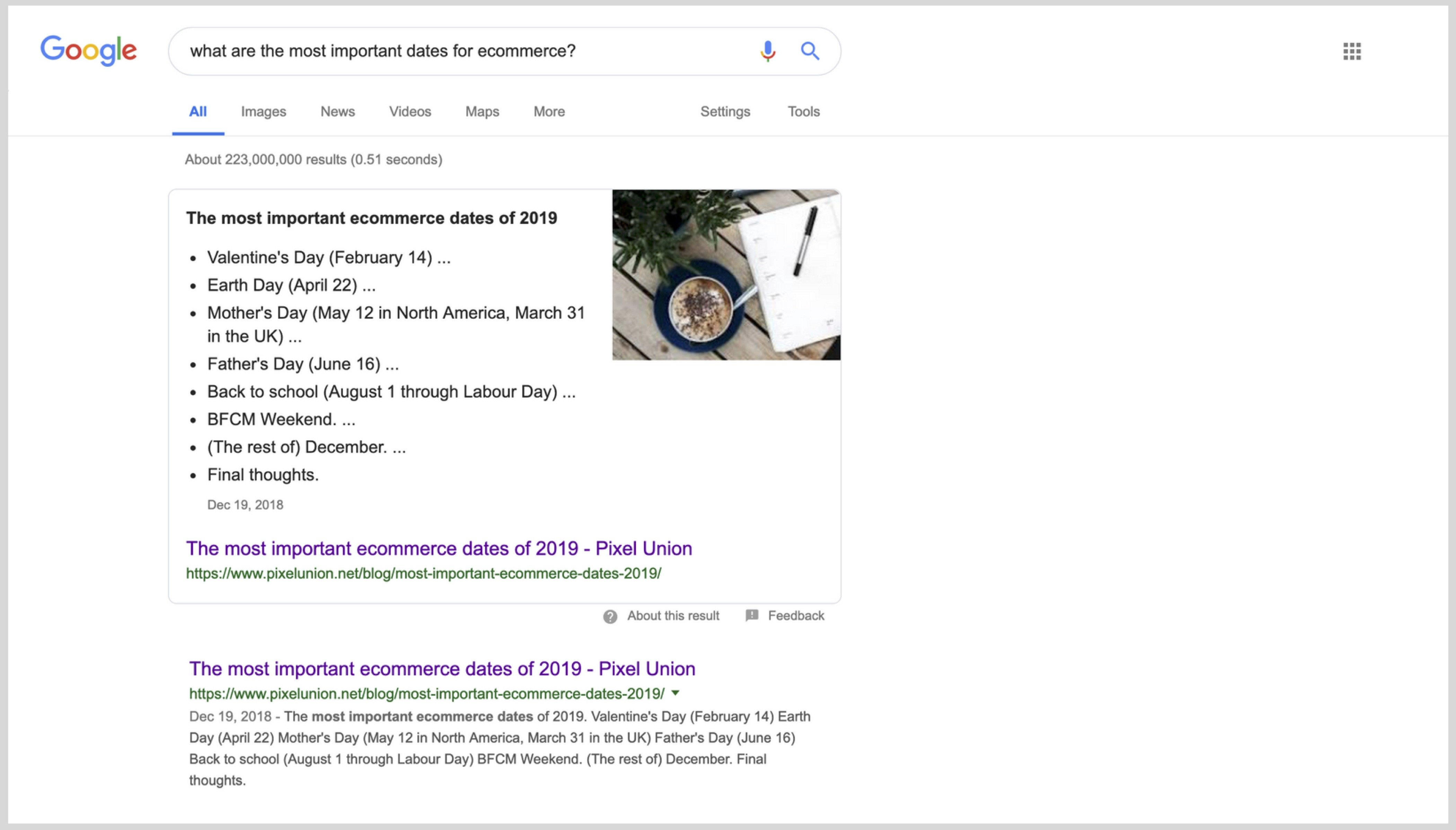 "Screen shot of a Google search result page for the term ""most important ecommerce dates"" with a Pixel Union blog post as the zero result"