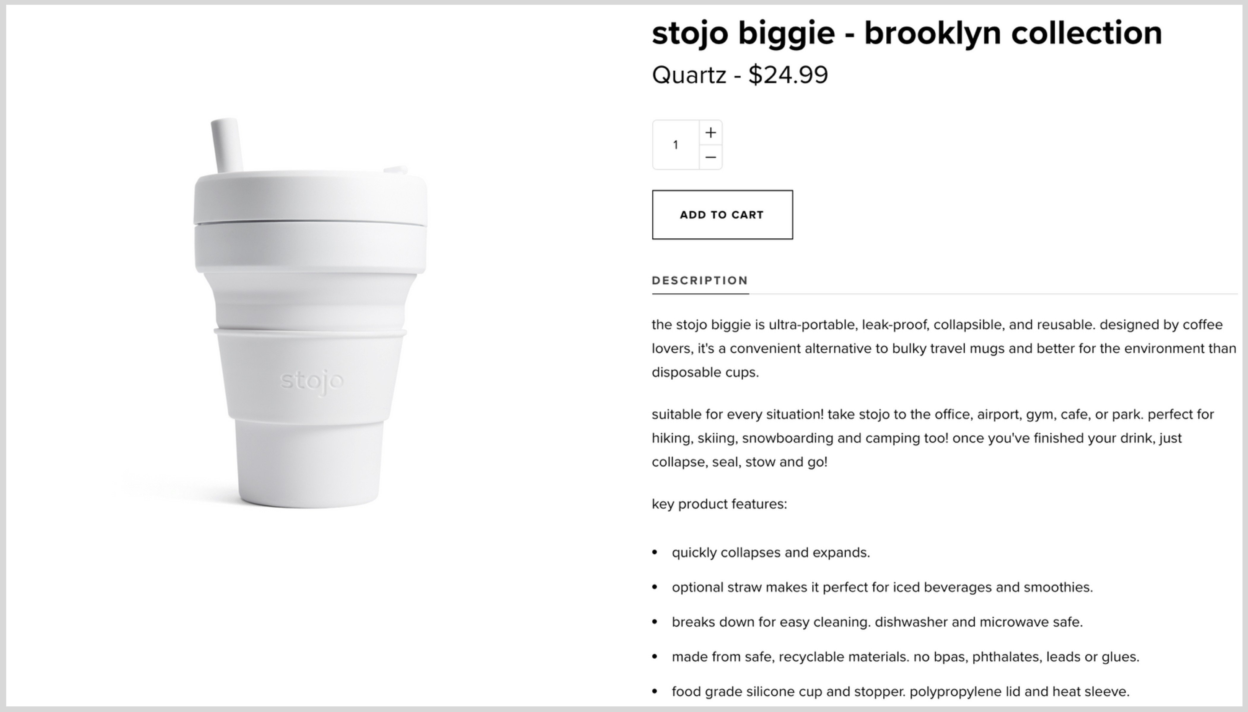 Screen shot of collapsable cup manufacturers Stojo's product page with an evocative product description
