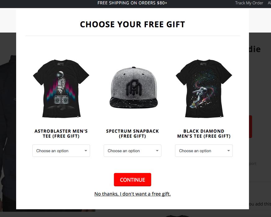 Choose your free gift: astroblaster men's tee, snapback, or black diamond men's tee