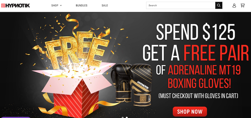 Spend $125 get a free pair of boxing gloves - must checkout with gloves in cart - Shop now