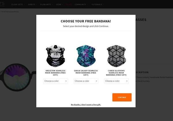 Choose your free bandana! Select your desired design and click Continue.