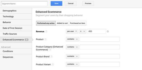 Google Analytics custom segment
