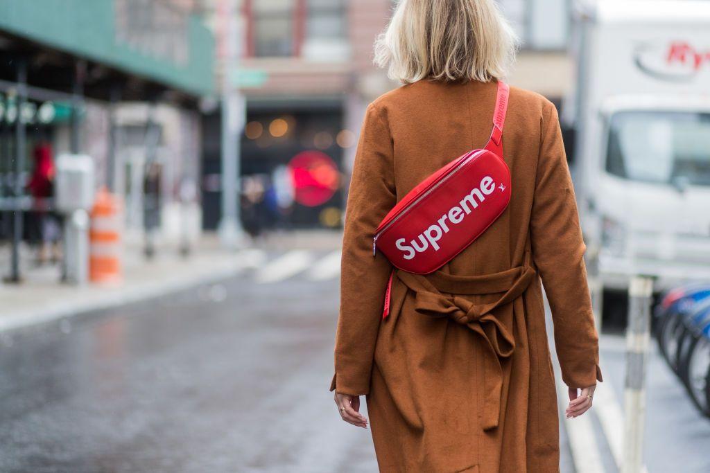 Supreme streetwear brand logo on a bag