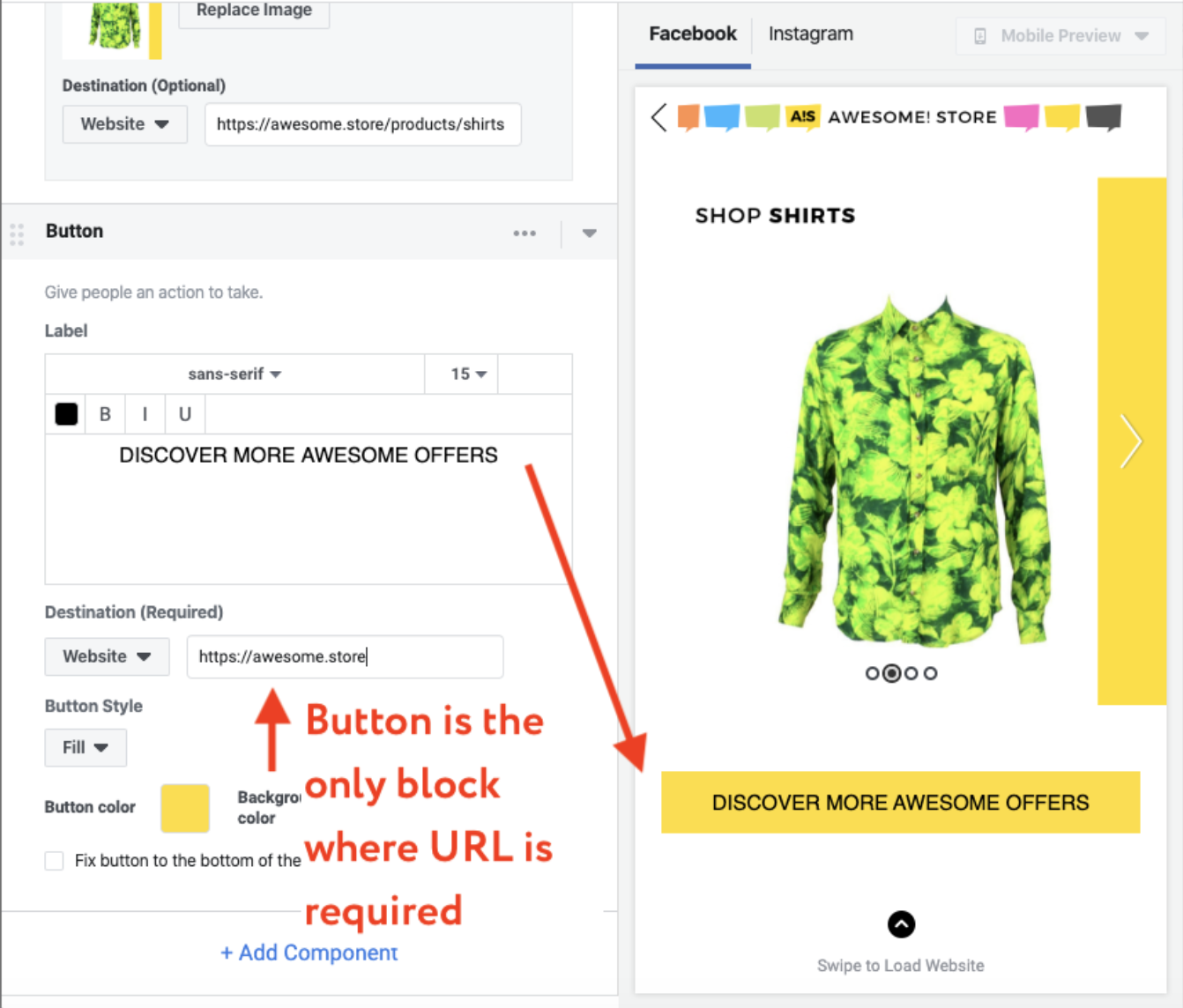 facebook instant ad experience button