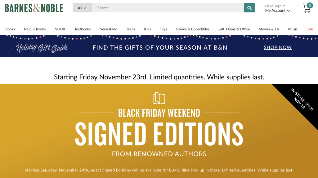 Signed Edition Books Black Friday Barnes Noble