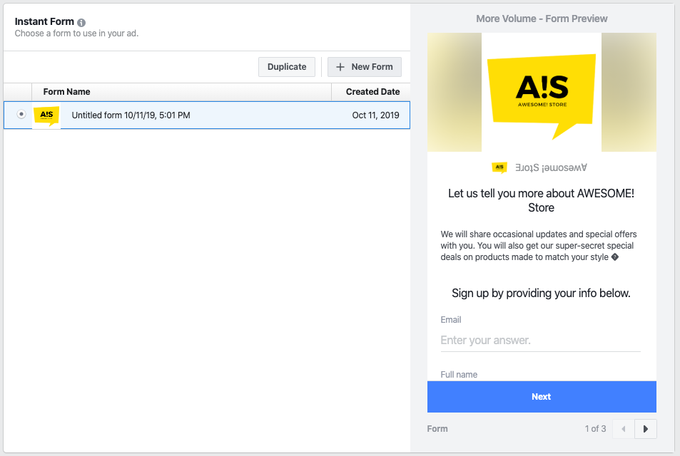 add instant form facebook experience ad
