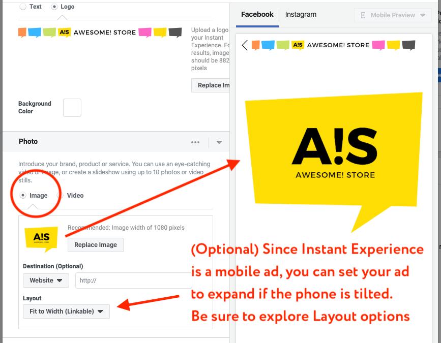 create facebook instant ad image