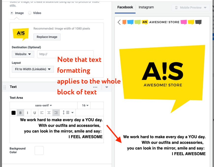 create fb instant ad text