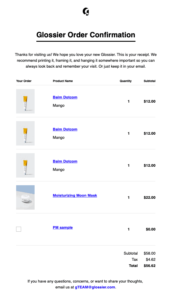 glossier-order-confirmation-thank-you-email