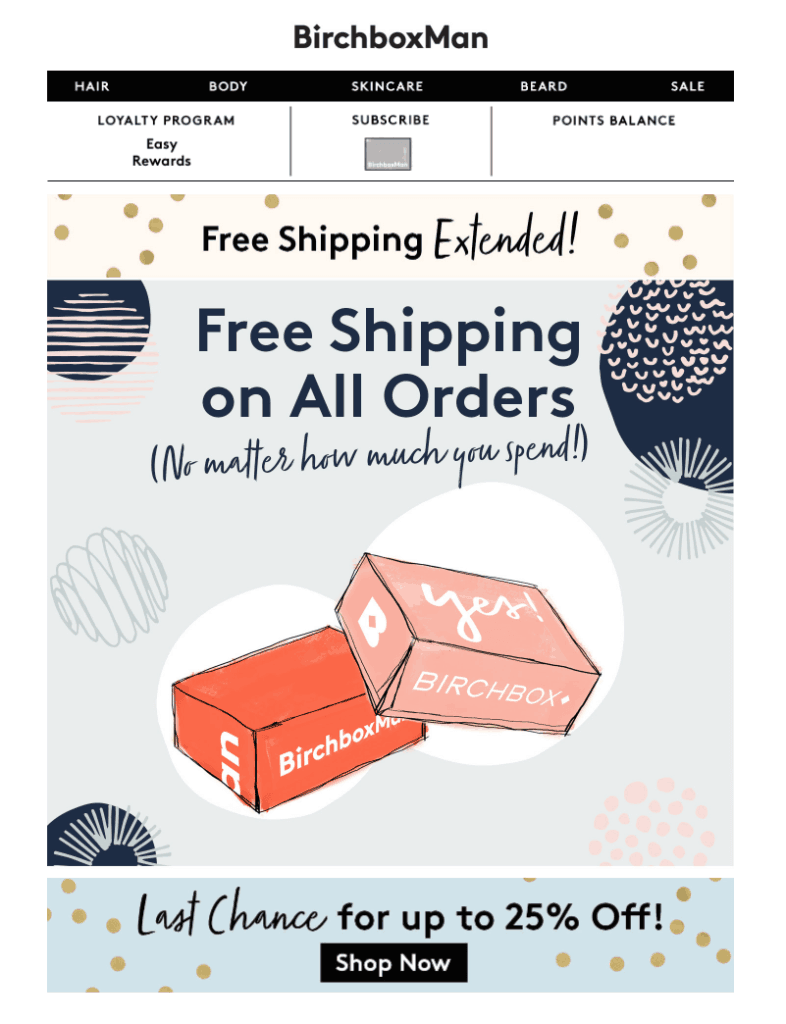 Birchboxman free shipping and 25% discount