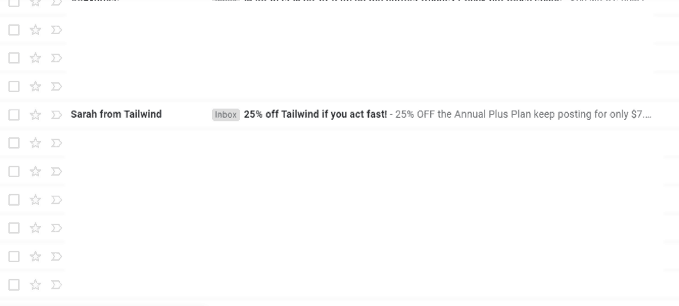 Email sale from Tailwind