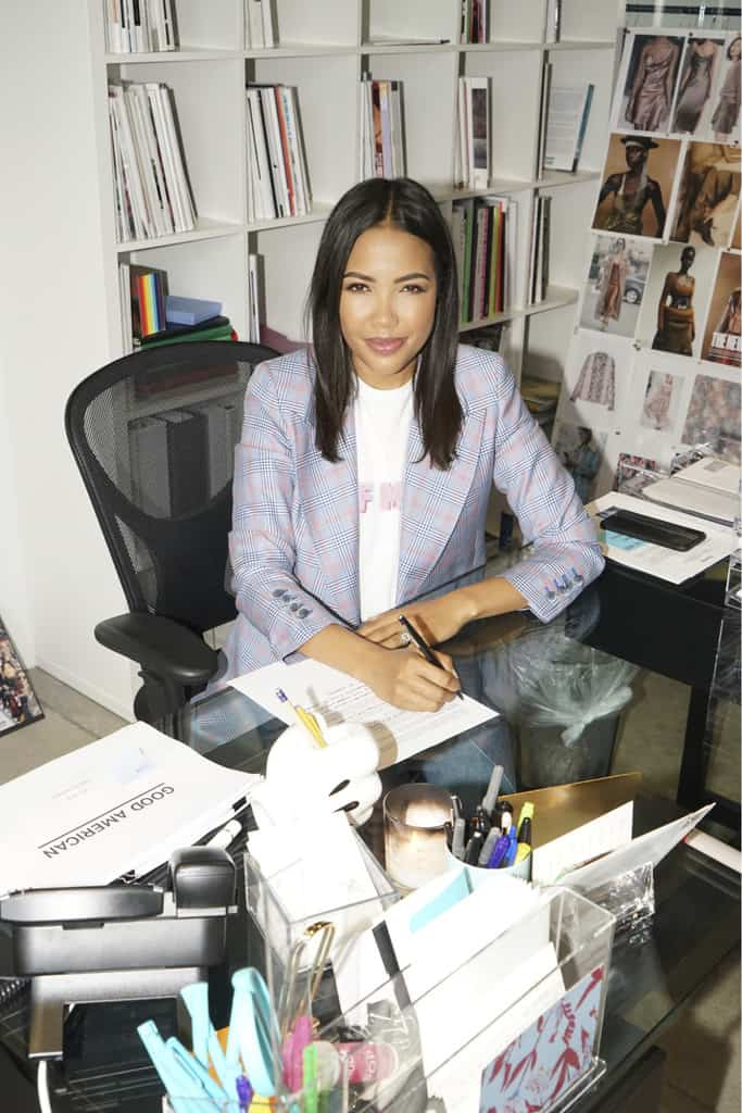Good American co-founder and CEO Emma Grede at her desk in Los Angeles.