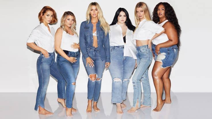 Good American co-founder Khloe Kardashian poses with models wearing her denim.