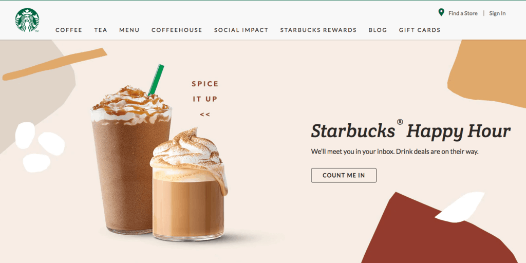 Best Brand Communities - Starbucks home page spice it up pumpkin spice lattes happy hour
