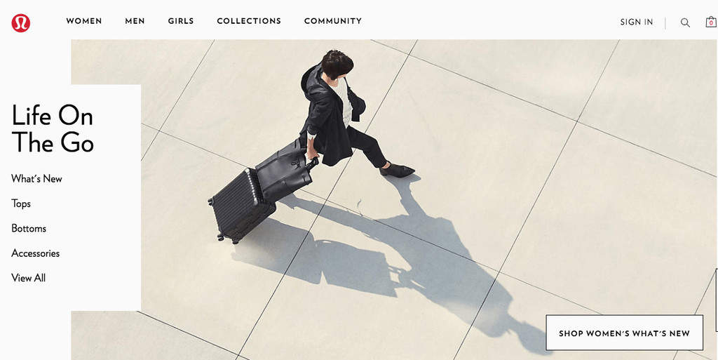 Best Brand Communities - lululemon home page life on the go person working and walking