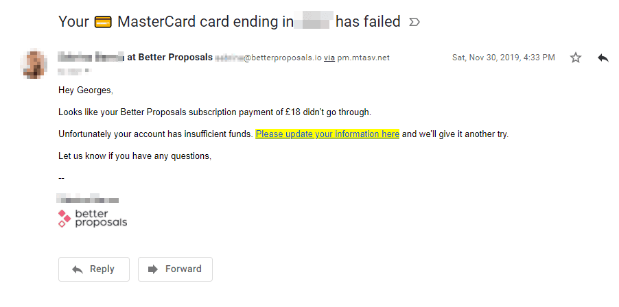 Payment Failure Trigger Email