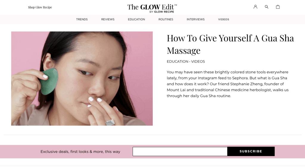 best brand communities - glow recipe blog