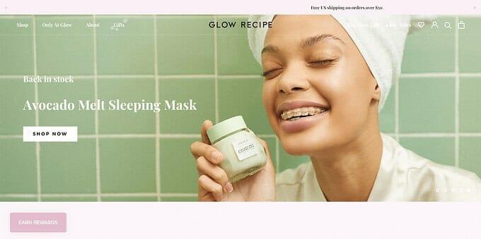 best brand communities - glow recipe homepage
