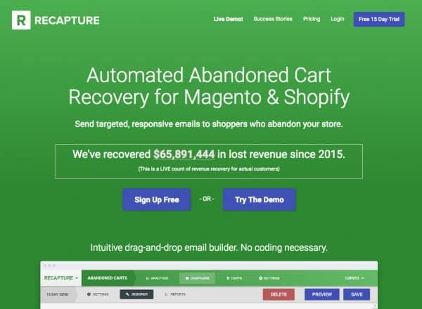 best shopify ecommerce apps - recapture io