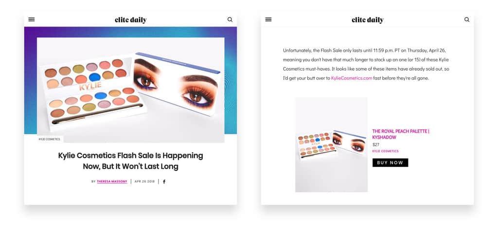 Kylie Cosmetics flash sale press coverage
