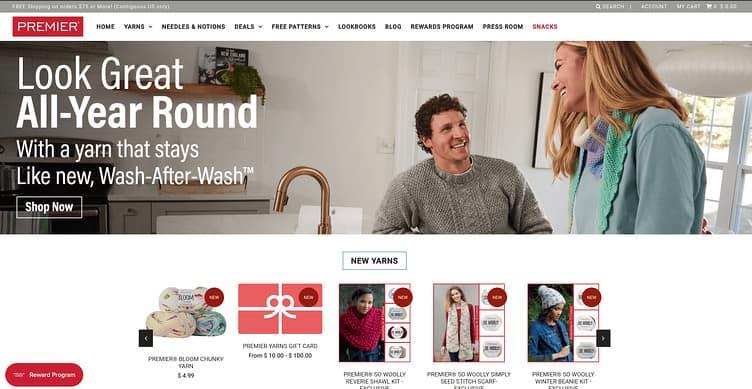 Premier Yarns website 2020